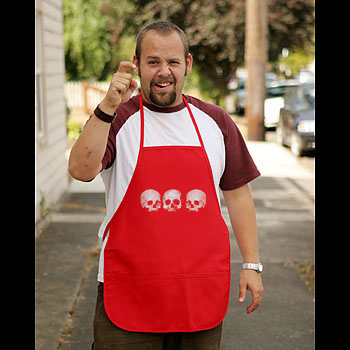 Pirate Apron - Red - Three Skull