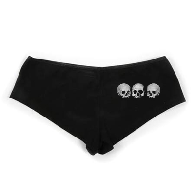 Three Skull Booty Shorts - Black Sexy Panties