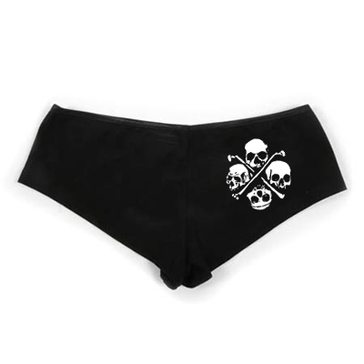 Pirate Booty Shorts - Black - 4 Skulls