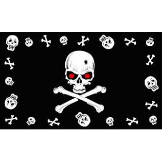 Pirate Flag - Skull Red Eyes & Bones w/ Border