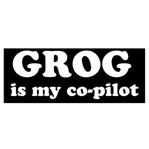 Pirate Bumper Sticker - Grog Is My Co-Pilot