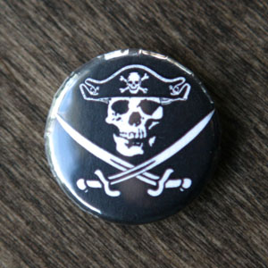 Pirate Button - Jolly Roger 2