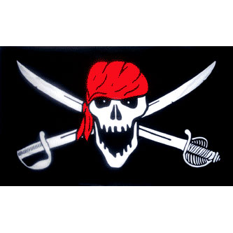 Pirate Flag - Skull & Swords w/ Red Scarf
