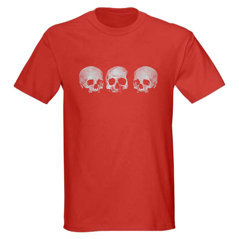 Kids' Pirate Shirt - Three Skull - Red