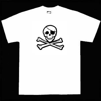 Kids Pirate Shirt - Classic Jolly Roger on White